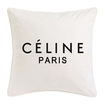 White and black Celine Paris Ispired Pillow Logo