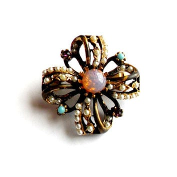 Faux Opal Brooch Vintage Seed Pearl Turquoise Faux Amethyst Purple Brass Gold Tone Antiqued Victorian Revival Baroque