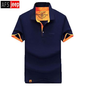 AFS JEEP 2017 Men's Polo Shirt Solid Turn Down Collar