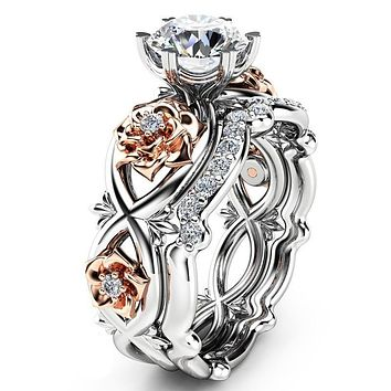 Silver Color Elegant Flower Rings for Women