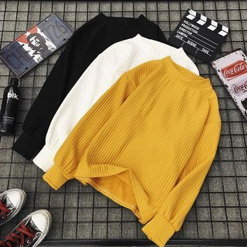 Solid Pullovers Hoodie Women Long Sleeves Chic Casual Pleated White Black Yellow Top Cropped Feminina Sweatshirt Loose Retro