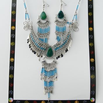 Jewelry Set, Necklace & Earrings Set, Metal And Stone Jewelry Set