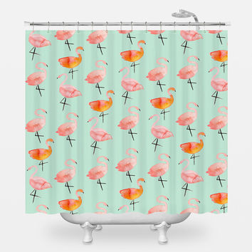 The Flamingos Shower Curtain