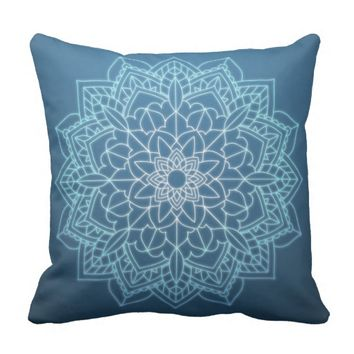 Blue Bohemian Mandala Accent Pillow