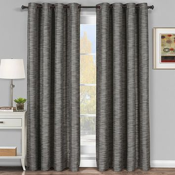 Gray 54x95 Galleria Blackout Thermal Coating Tonal Stripe Window Grommet Panel