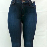 High Waist Dark Blue Skinny Classic Denim Jean Pants 1663
