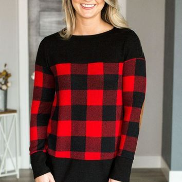 LMFVA6 Plaid Suede Elbow Patch Top