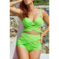 Stylish Criss-Cross Solid Color High Waist Plus Size Swimwear Twinset For Women