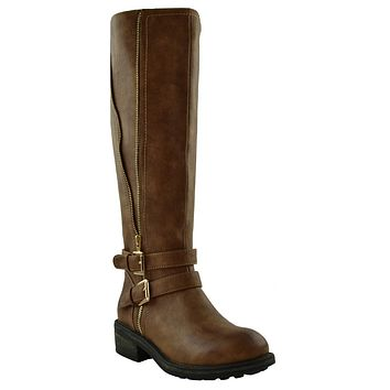 Womens Gold Zipper Trim Mid Calf Riding Boots Camel