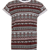 Burgundy Aztec High-Roll T-Shirt - T-Shirts & Tanks - New In - TOPMAN USA