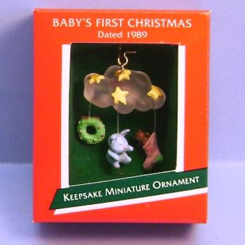 1989 Baby's First Christmas Hallmark Miniature Retired Ornament