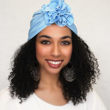 Sky Blue Flower Turban