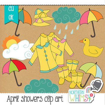 "Spring Clip Art - ""April Showers"" - rain clouds, jackets, rubber boots, umbrellas, and a rubber duck in pink, yellow, & blue- commercial use"