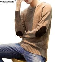 High-grade 2017 New Autumn Winter Fashion Brand Clothing Men's Sweaters Stitching Patch Slim Fit Men Pullover Knitted Sweater