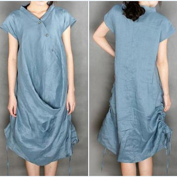 Oblique placket with decorative buttons linen long dress