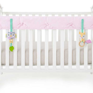 Pink Organic Crib Rail Cover - Narrow Rail