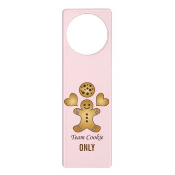 Personalized Cute Kawaii Pink Door Hangers for Girl's Room: Team Cookie: Gift Idea for Cookie Lovers!