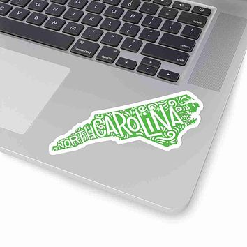 North Carlina State Shape Sticker Decal - Lime Green