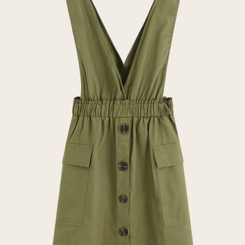 Button Through Pocket Side Pinafore Dress