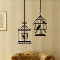 Two Bird Cages Vinyl Wall Decal Sticker