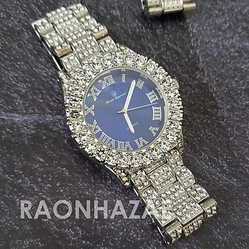 Raonhazae Hip Hop FULLY Iced Lab Diamond 14K White Gold Plated Watch with Blue Face  Blingy Stones