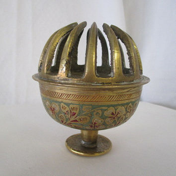 ornate brass bell, etched design bell, vtg home decor, brass vtg desk bell, old brass souvenir, collectible bell, repurpose reuse