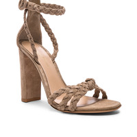 Gianvito Rossi for FWRD Braided Suede Camoscio Strap Heels in Bisque | FWRD