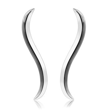 "CIShop ""Simple Wave"" S925 Sterling Silver Ear Climber Crawler Cuff Earrings Hypoallergenic"