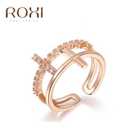 ROXI Brand Fashion Womens Finger Ring Double Cross Rings Top Quality Gold Plated Crystal Zircon Rhinestone Women Wedding Jewelry