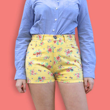 90s Yellow Denim Shorts - Romantic Floral Print Grunge Shorts - High Waist Kawaii Flower Jean Shorts - Neon Club Kid Cut Offs Denim Shorts