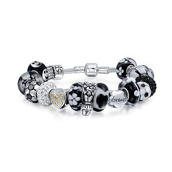 Soccer Mom Sports Team Black Bead Charm Bracelet 925 Sterling Silver