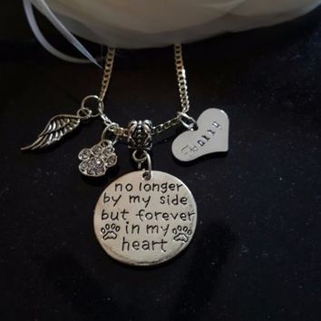No longer by my side but forever in my heart Pet Loss  Sterling Silver Necklace