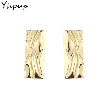 Yhpup Rectangle Zinc Alloy Stud Earrings Charms Golden Statement Fashion Stylish Earrings Pendientes Mujer Moda 2018 Party Gift
