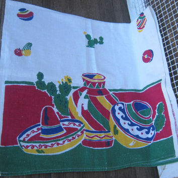 Startex Midcentury Mexican Graphic Tea Towel - Cactus & Sombrero Print Towel - '50s Mexicali Cocktail Towel; Fiesta Towel