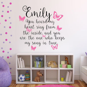 You Heard My Heart Sing Personalized Custom Name Quote Vinyl Wall Decal Sticker