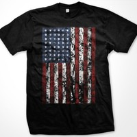 American Flag Mens T-shirt, United States Oversized Tattered Flag Mens Shirt