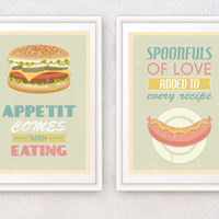 Kitchen art poster set, Mid century poster prints, Famous inspirational quotes prints for kitchen, Wall art decor, A4 or A3 size