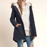Casual Big Button Fur Hooded Jacket