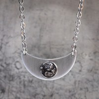 Crescent Moon Necklace - Cosmos Meteorite