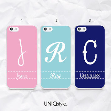 Personalized name initials phone case for iPhone 4/4s iPhone 5/5s 5c Samsung S4, S5 active - mint tiffany blue case with/ custom name - N41