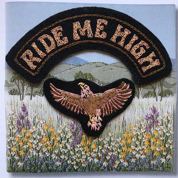 Ride Me High 2-piece hand embroidered patch set