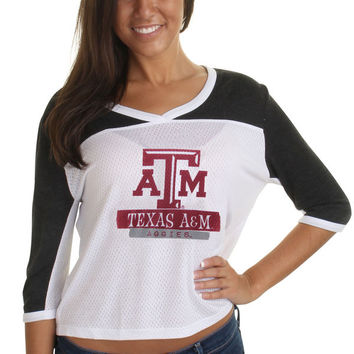 Texas A&M Aggies Women's Tagger Meshey Three-Quarter Sleeve V-Neck Crop Top - White