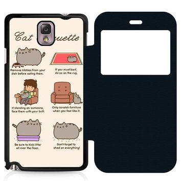 Pusheen Cat Eat Etiquette Leather Wallet Flip Case Samsung Galaxy Note 3
