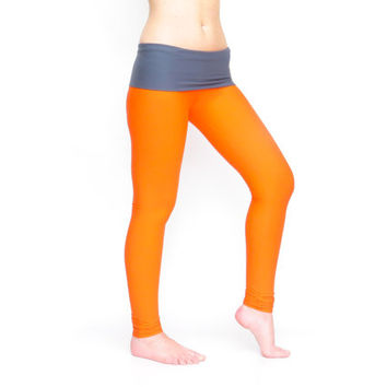 Orange leggings yoga pants tie dye pants fold over tights