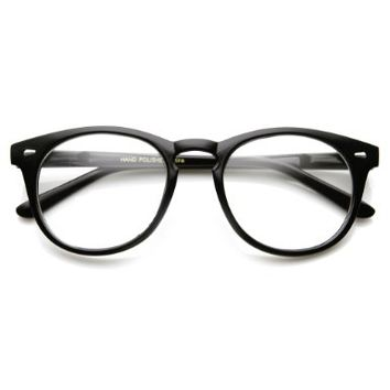 Classic Round P3 Horn Rimmed Style Clear Lens Eye Glasses (Shiny Black)