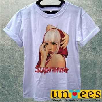 Hot Lady Gaga Supreme Logo Women T Shirt