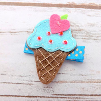Felt ice cream hair clip, ice cream cone, girls hair accessory,girls hair clip, turquoise hair clip, toddler clip, girl clip, uk seller
