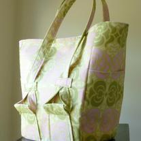 The Schon:  Large Tote/Diaper Bag in Amy Butler Garden Maze by EchoLand Bags
