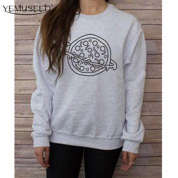 YEMUSEED H1255 2016 Hipster Autumn Women Long Sleeve Sweatshirt Jumpers Cheese Pizza Printed Funny Graphic Pullover Hoodies