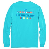 Long Sleeve Nautical Flags Tee Shirt in Scuba Blue by Southern Tide